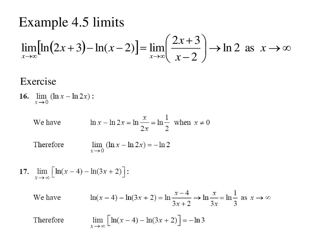 Example 4.5 limits Exercise
