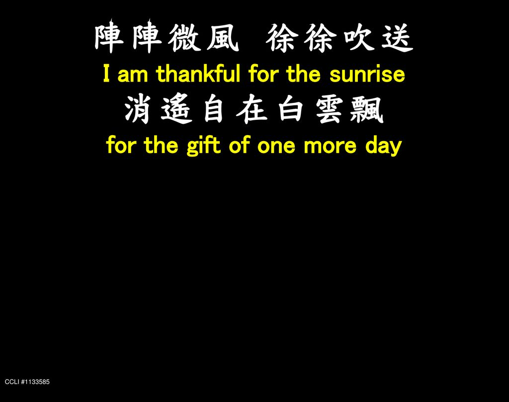 I am thankful for the sunrise for the gift of one more day