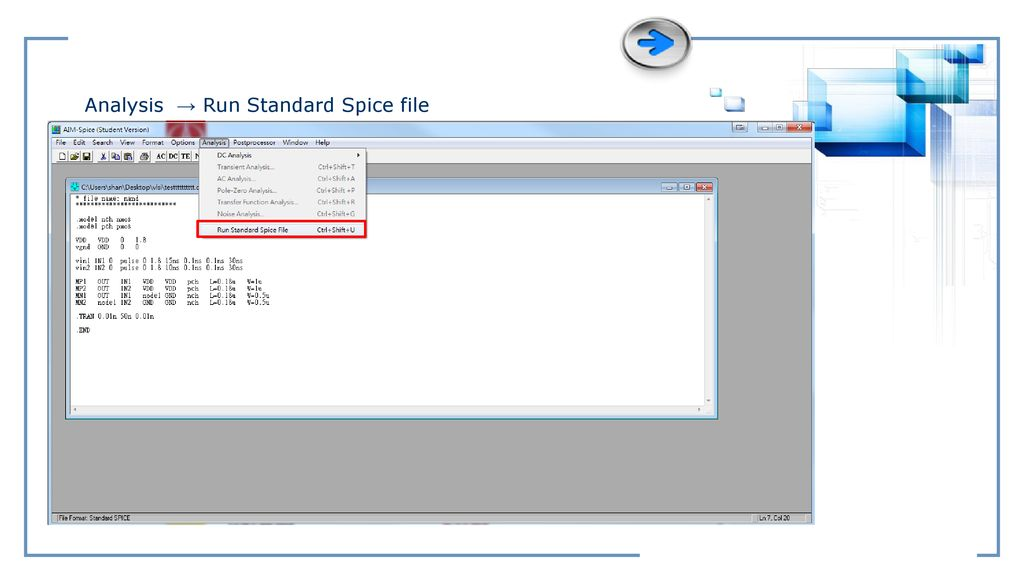 Analysis → Run Standard Spice file