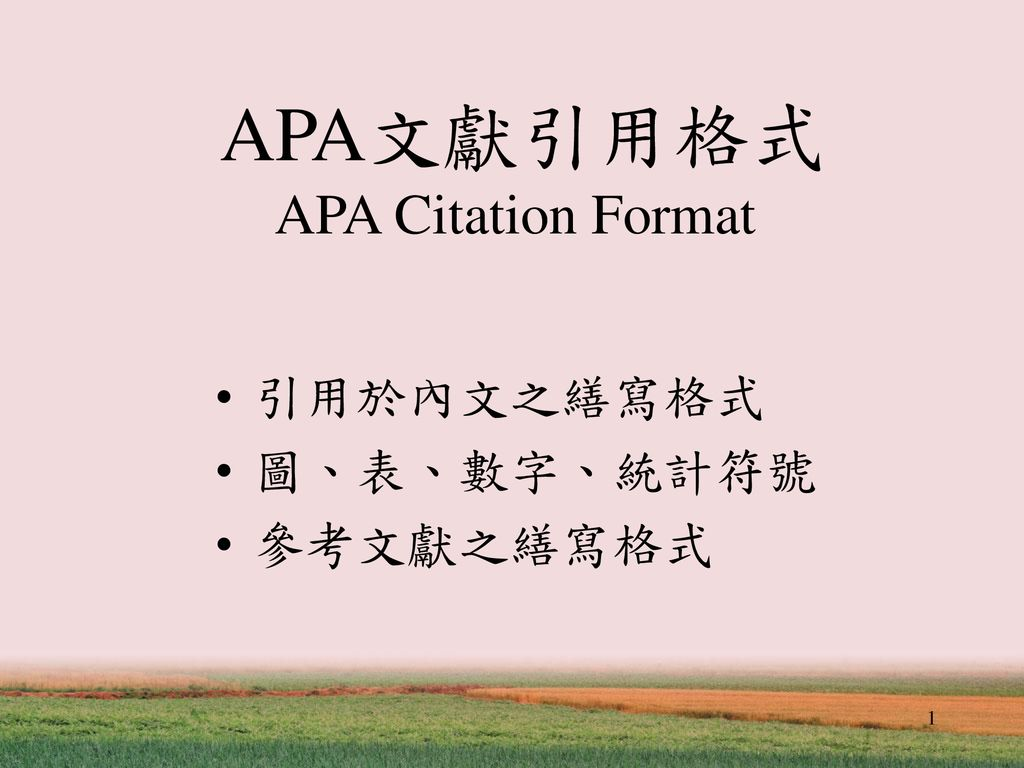 APA文獻引用格式 APA Citation Format