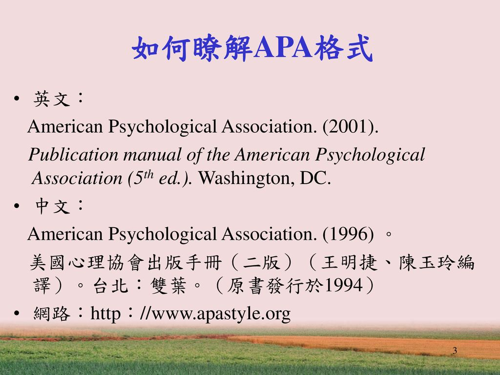 如何瞭解APA格式 英文: American Psychological Association. (2001).