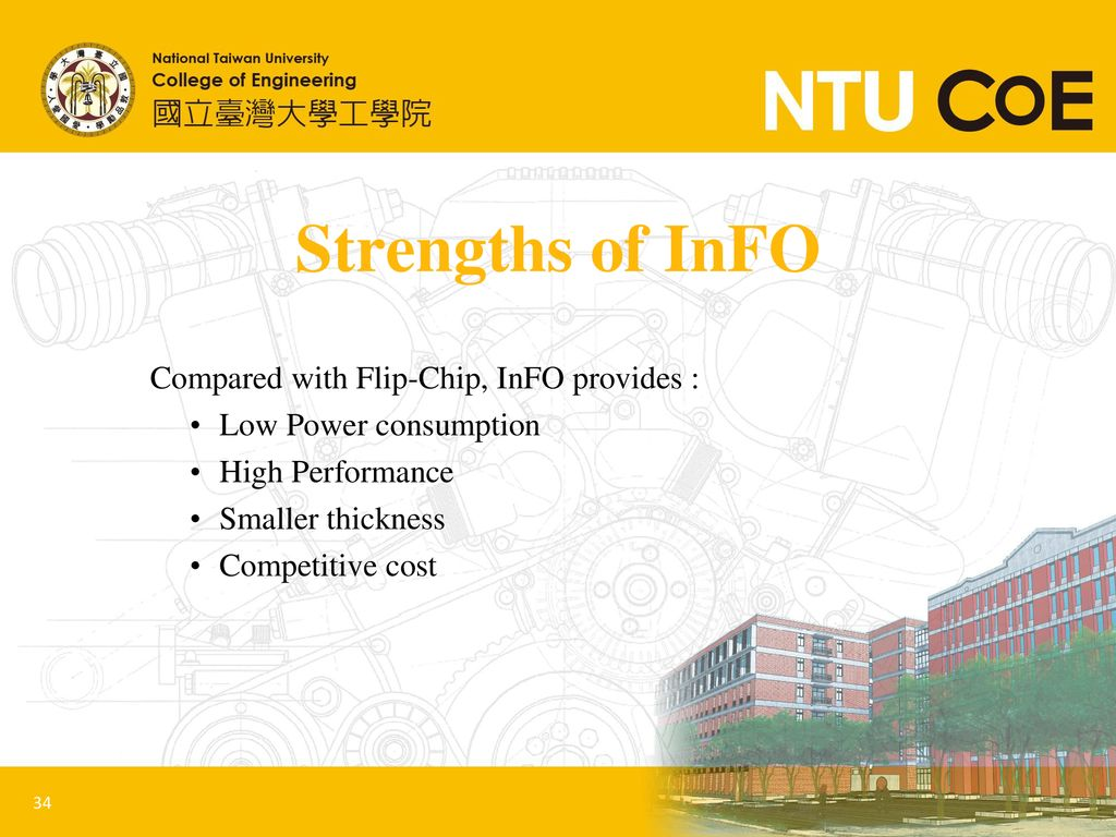 Strengths of InFO Compared with Flip-Chip, InFO provides :