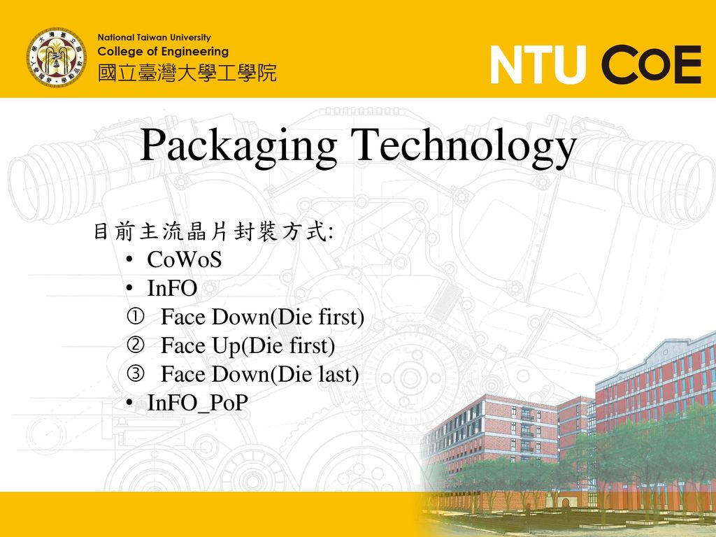 Packaging Technology 目前主流晶片封裝方式: CoWoS InFO Face Down(Die first)