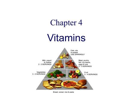 Chapter 4 Vitamins. Classification of vitamins vitamins water -soluble lipid-soluble Vit C Vit B A, D, E, K B1, B2, B6, B12, PP, pantothenic acid , folic.