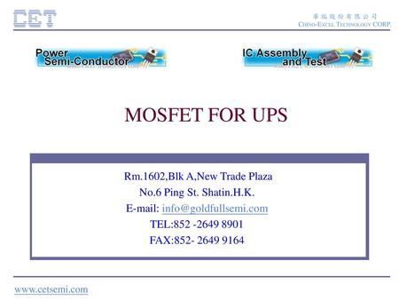 MOSFET FOR UPS.