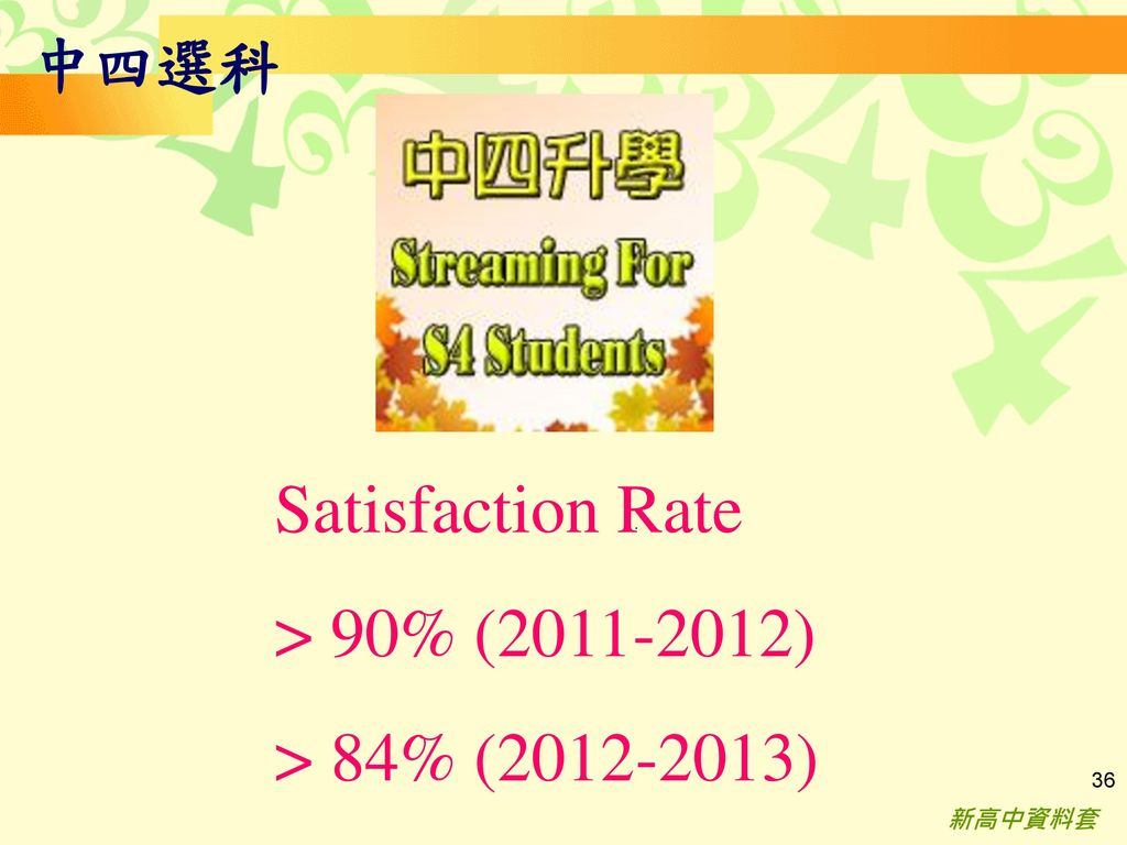 Satisfaction Rate > 90% ( ) > 84% ( ) 中四選科