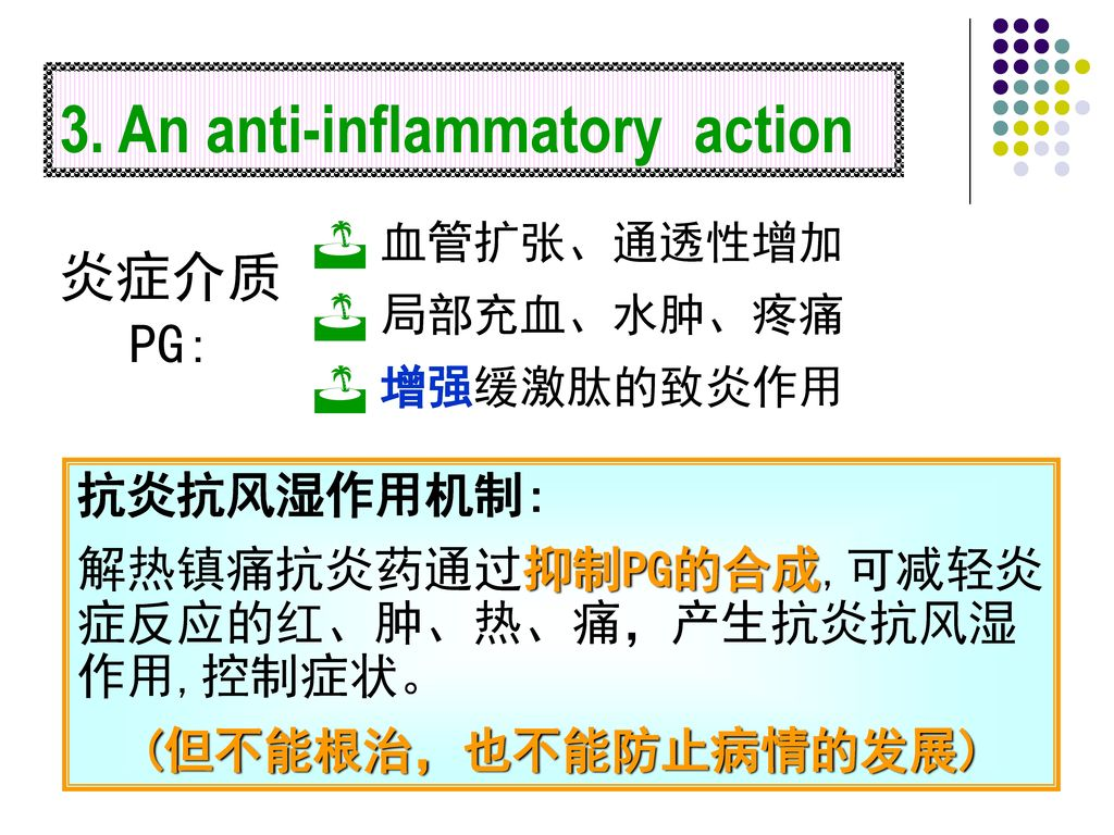 3. An anti-inflammatory action
