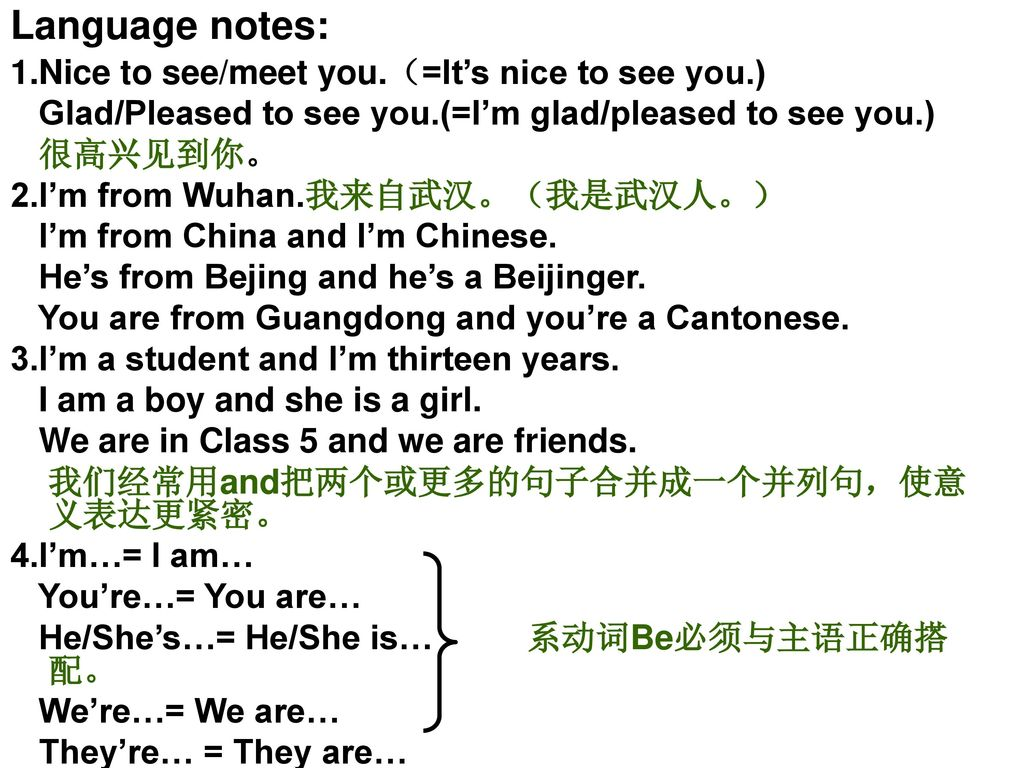Language notes: 1.Nice to see/meet you.(=It's nice to see you.)