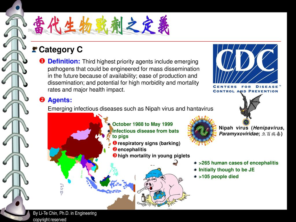 Category C  Definition: Third highest priority agents include emerging. pathogens that could be engineered for mass dissemination.
