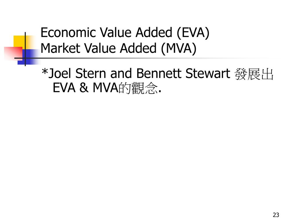 Economic Value Added (EVA) Market Value Added (MVA)