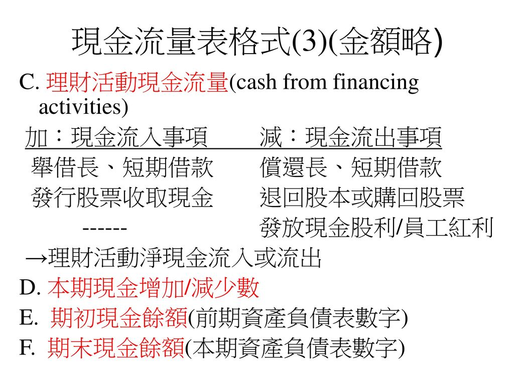 現金流量表格式(3)(金額略) C. 理財活動現金流量(cash from financing activities)