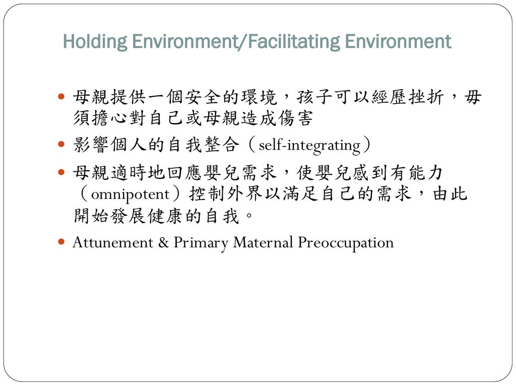 Holding Environment/Facilitating Environment
