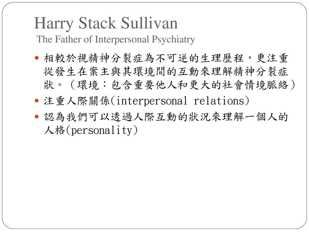 Harry Stack Sullivan The Father of Interpersonal Psychiatry
