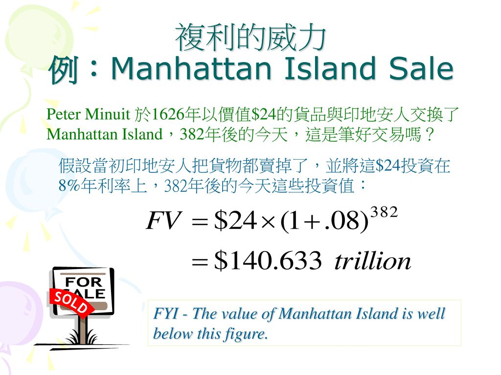 複利的威力 例:Manhattan Island Sale