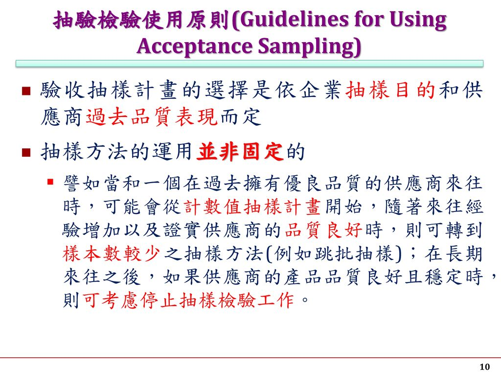 抽驗檢驗使用原則(Guidelines for Using Acceptance Sampling)