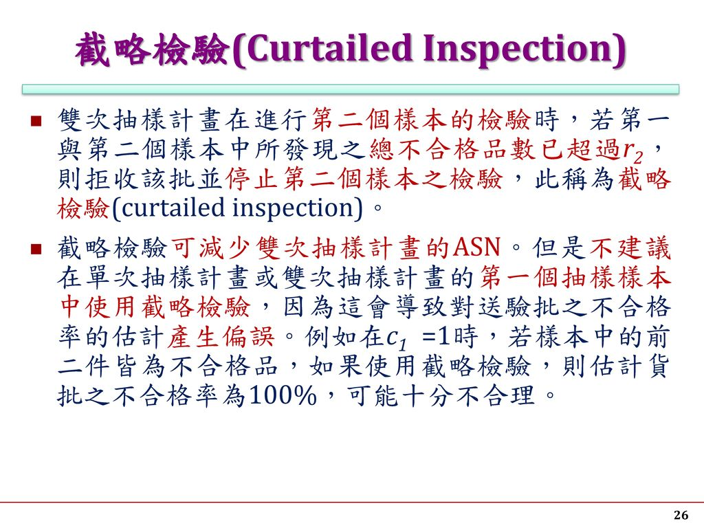 截略檢驗(Curtailed Inspection)