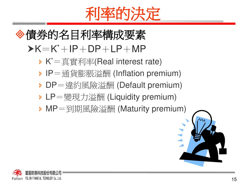 利率的決定 債券的名目利率構成要素 K=K*+IP+DP+LP+MP K*=真實利率(Real interest rate)