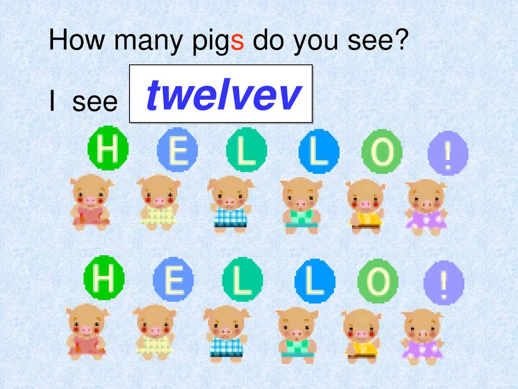 How many pigs do you see twelvev I see