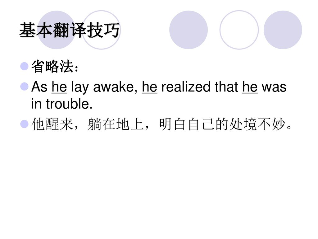 基本翻译技巧 省略法: As he lay awake, he realized that he was in trouble.