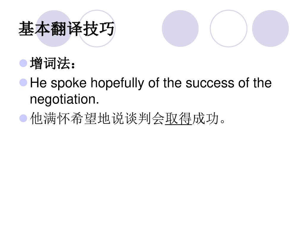 基本翻译技巧 增词法: He spoke hopefully of the success of the negotiation.