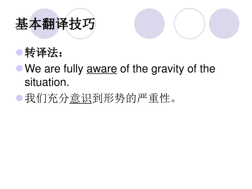 基本翻译技巧 转译法: We are fully aware of the gravity of the situation.