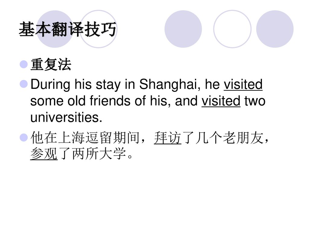 基本翻译技巧 重复法. During his stay in Shanghai, he visited some old friends of his, and visited two universities.