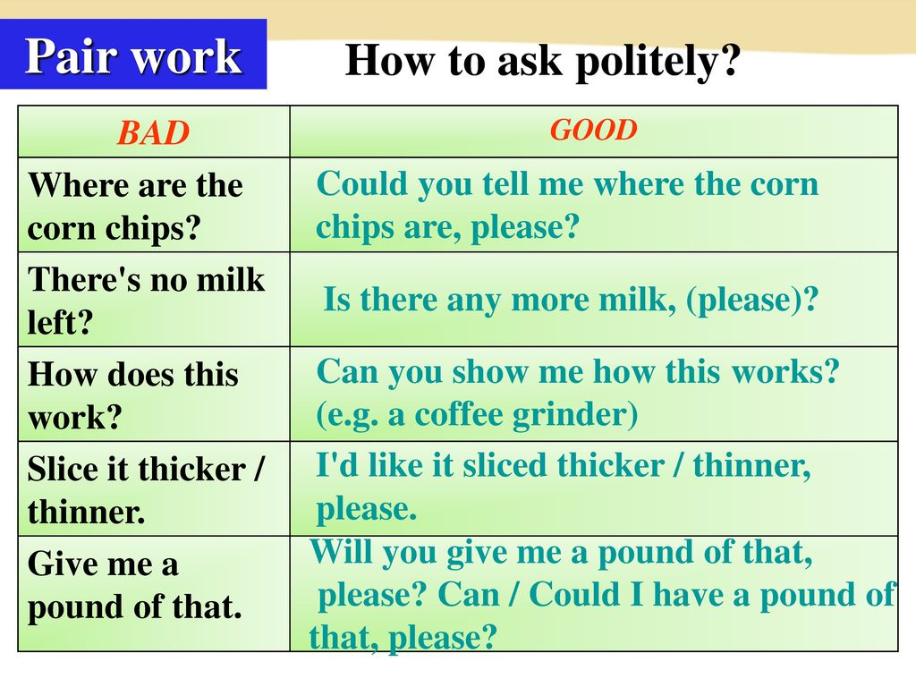 Pair work How to ask politely BAD Where are the corn chips