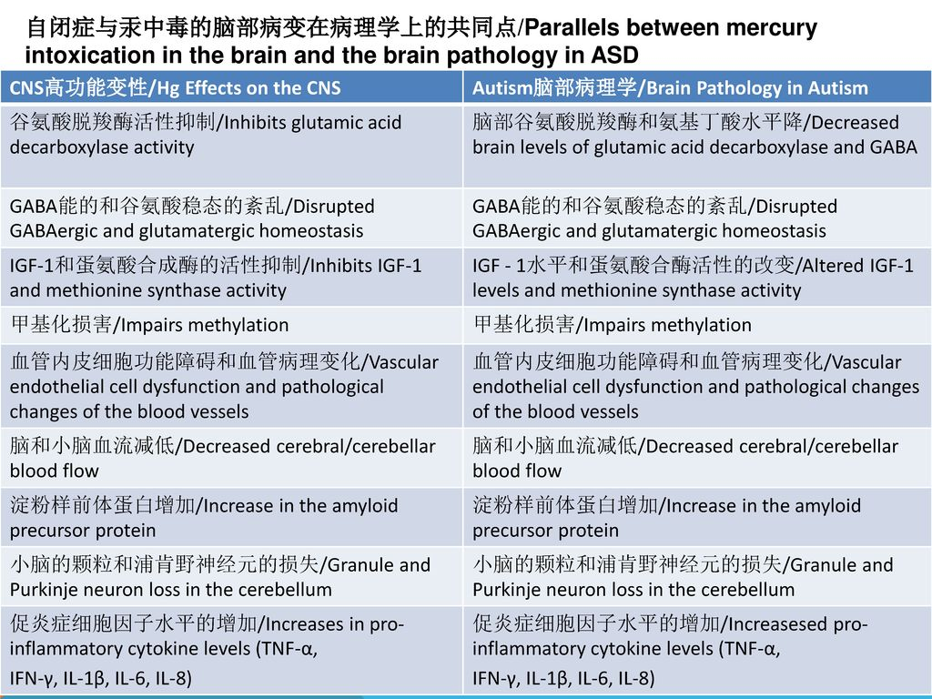 自闭症与汞中毒的脑部病变在病理学上的共同点/Parallels between mercury intoxication in the brain and the brain pathology in ASD