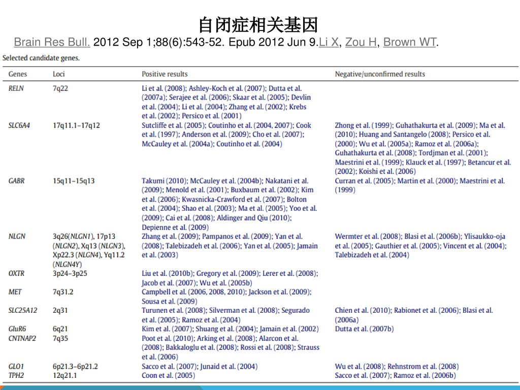 自闭症相关基因 Brain Res Bull Sep 1;88(6): Epub 2012 Jun 9.Li X, Zou H, Brown WT.