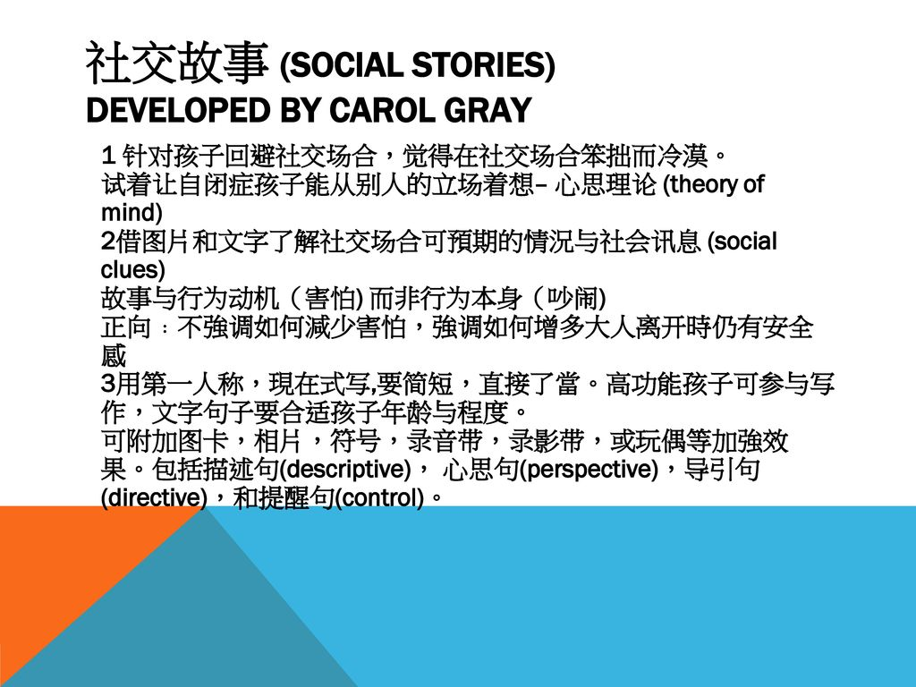 社交故事 (SOCIAL STORIES) DEVELOPED BY CAROL GRAY