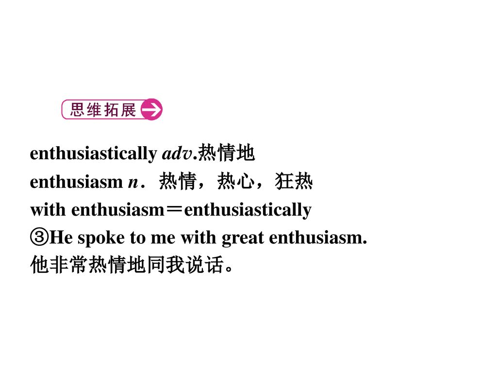 enthusiastically adv.热情地