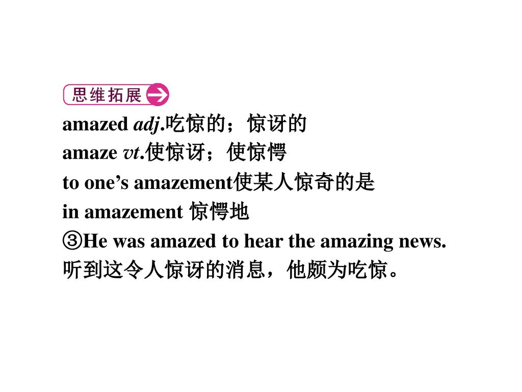 amazed adj.吃惊的;惊讶的 amaze vt.使惊讶;使惊愕. to one's amazement使某人惊奇的是. in amazement 惊愕地. ③He was amazed to hear the amazing news.