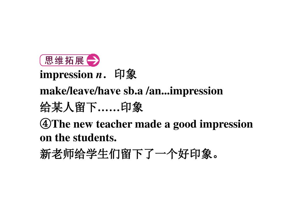 impression n.印象 make/leave/have sb.a /an...impression. 给某人留下……印象. ④The new teacher made a good impression on the students.