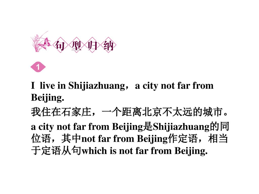 I live in Shijiazhuang,a city not far from Beijing.