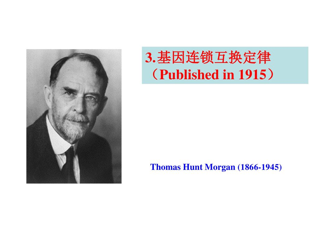 基因连锁互换定律 (Published in 1915) Thomas Hunt Morgan ( )