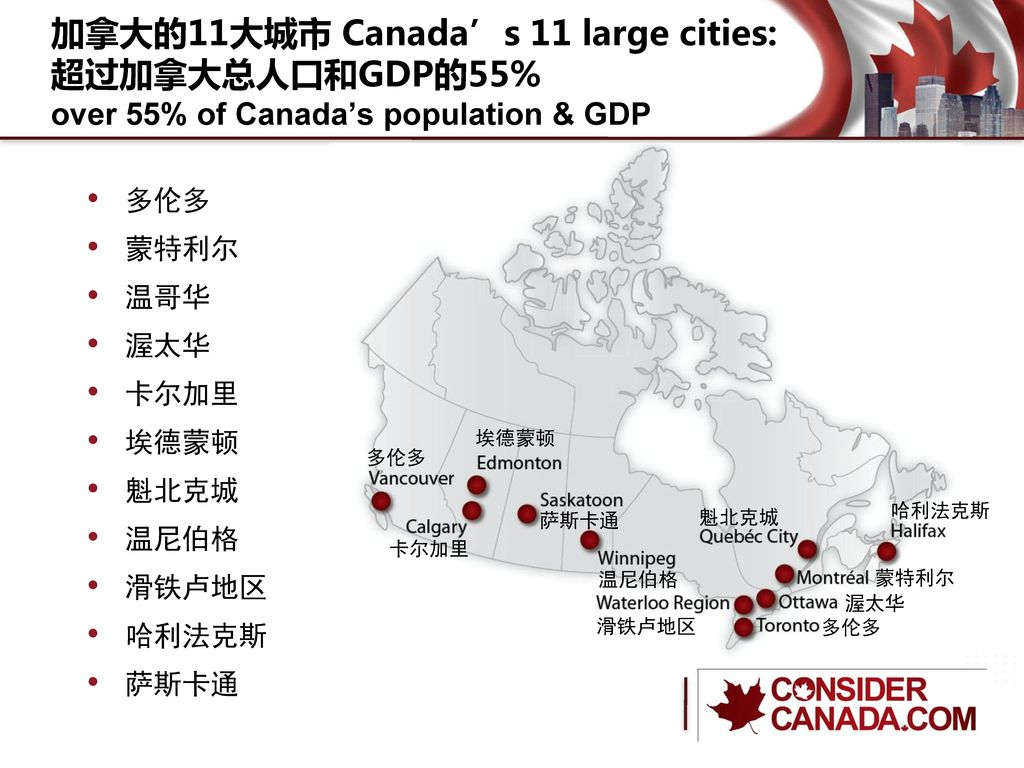 加拿大的11大城市 Canada's 11 large cities: 超过加拿大总人口和GDP的55% over 55% of Canada's population & GDP