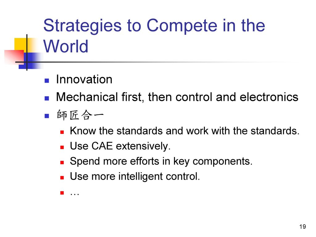 Strategies to Compete in the World