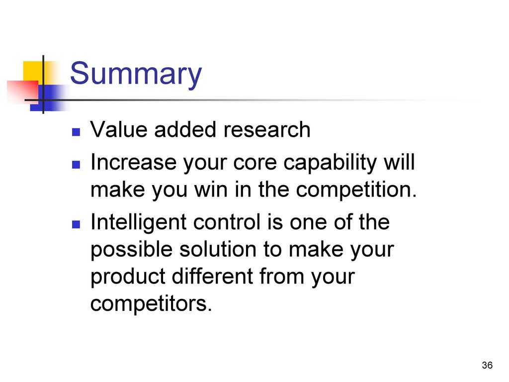 Summary Value added research