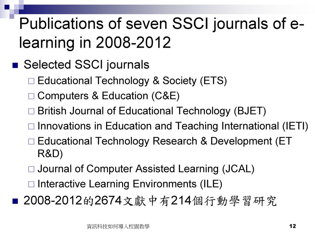 Publications of seven SSCI journals of e-learning in