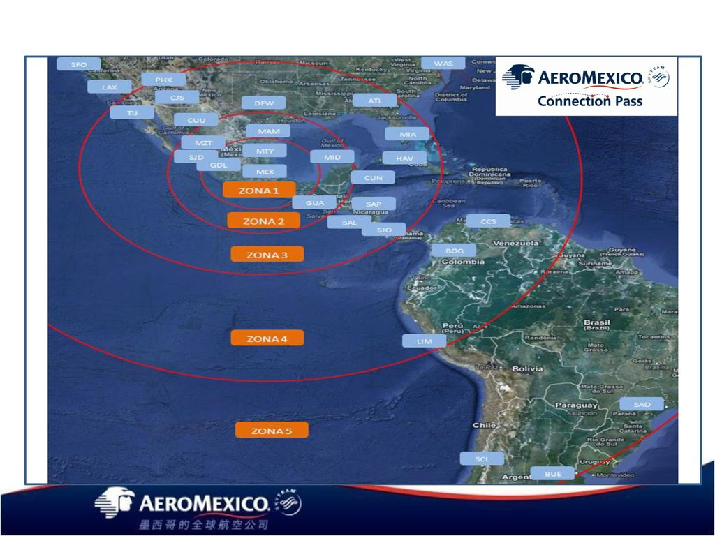 CONNECTION PASS Application Map considering México City as first point for Connection Pass