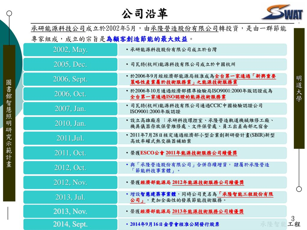 公司沿革 2002, May. 2005, Dec. 2006, Sept. 2006, Oct. 2007, Jan.