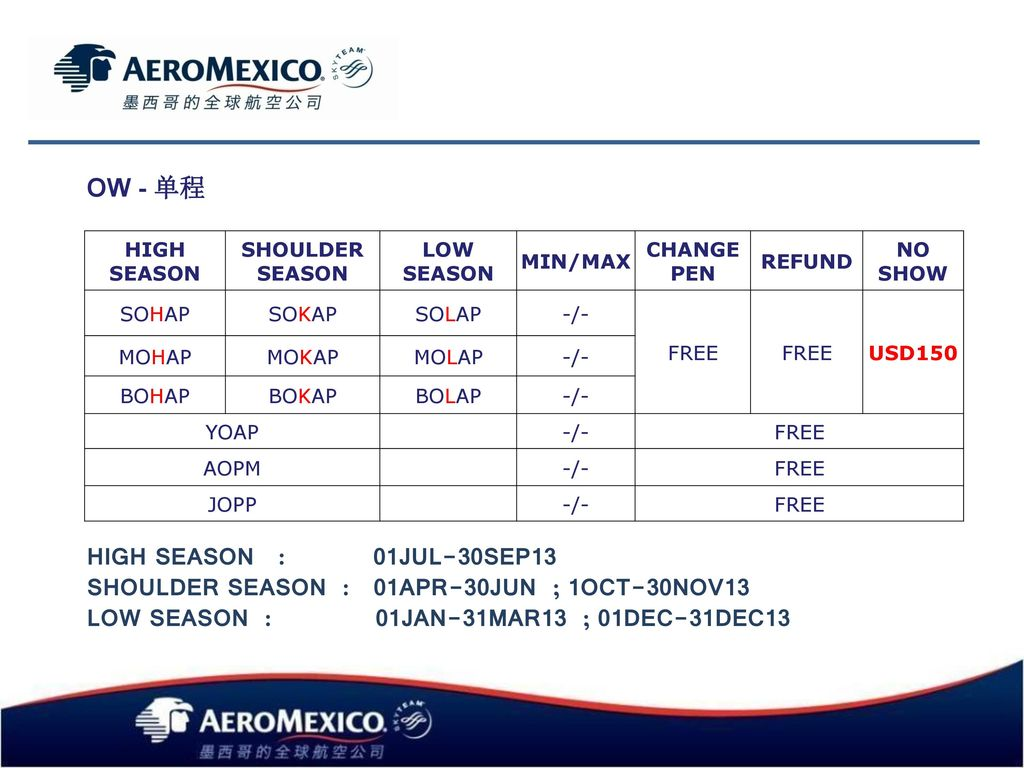SHOULDER SEASON : 01APR-30JUN ; 1OCT-30NOV13