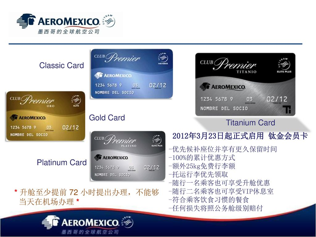 Classic Card Gold Card Titanium Card Platinum Card