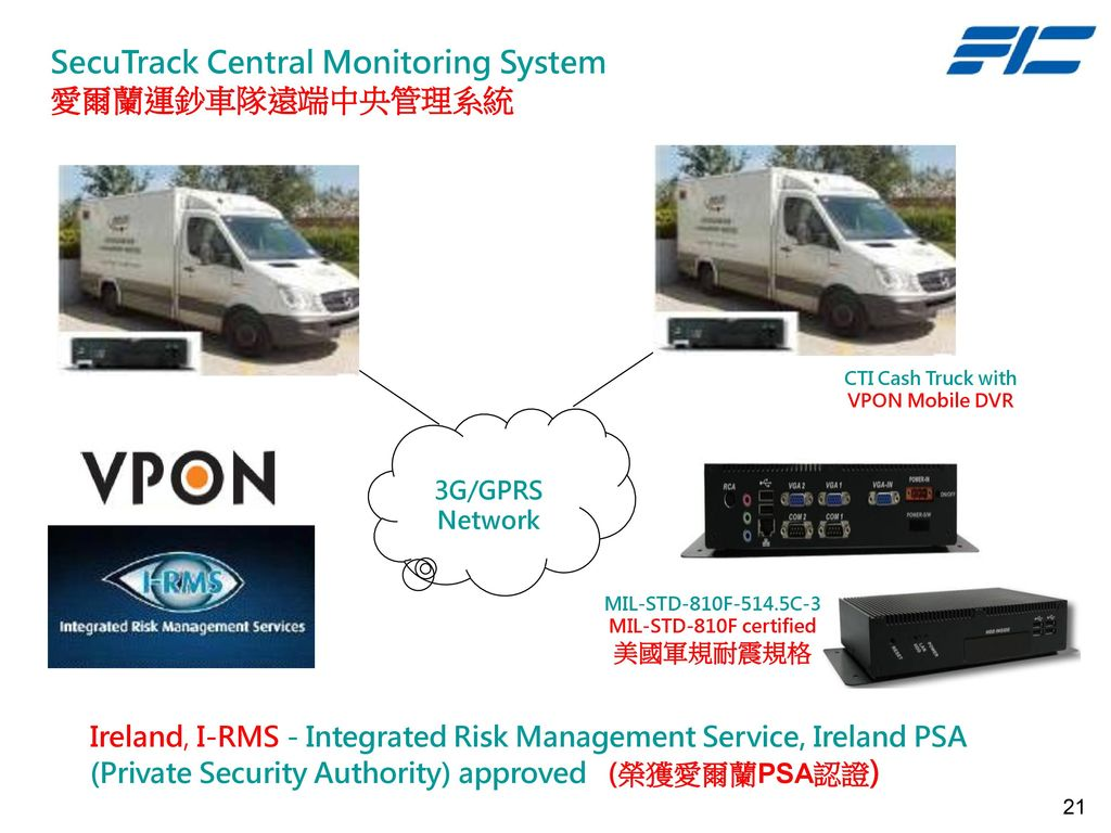 SecuTrack Central Monitoring System 愛爾蘭運鈔車隊遠端中央管理系統