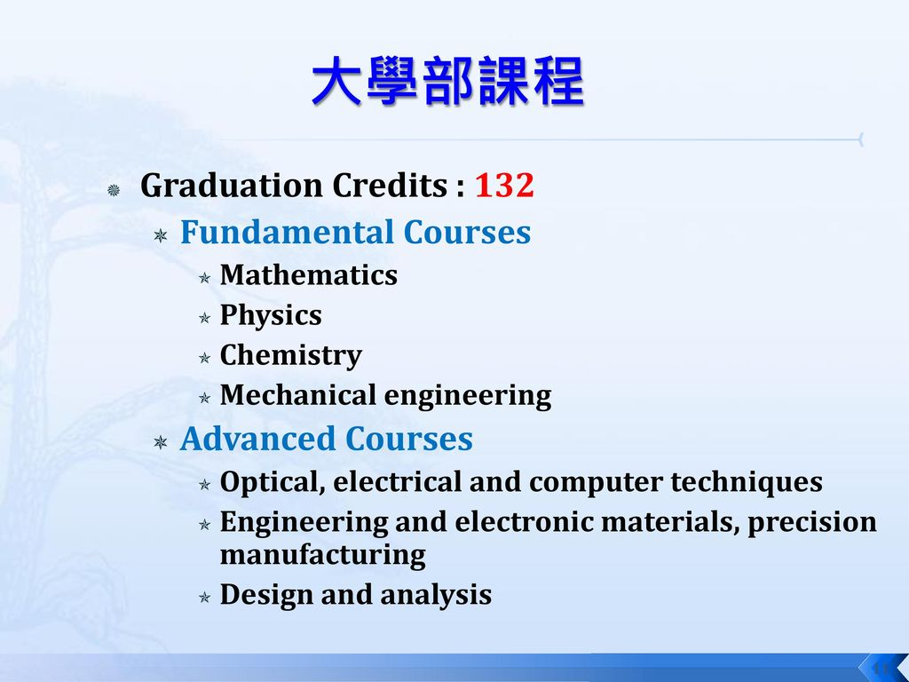 大學部課程 Graduation Credits : 132 Fundamental Courses Advanced Courses