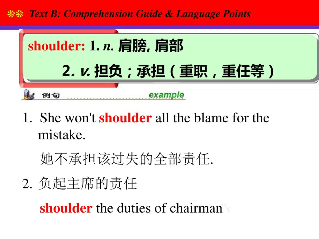 1. She won t shoulder all the blame for the mistake. 她不承担该过失的全部责任.