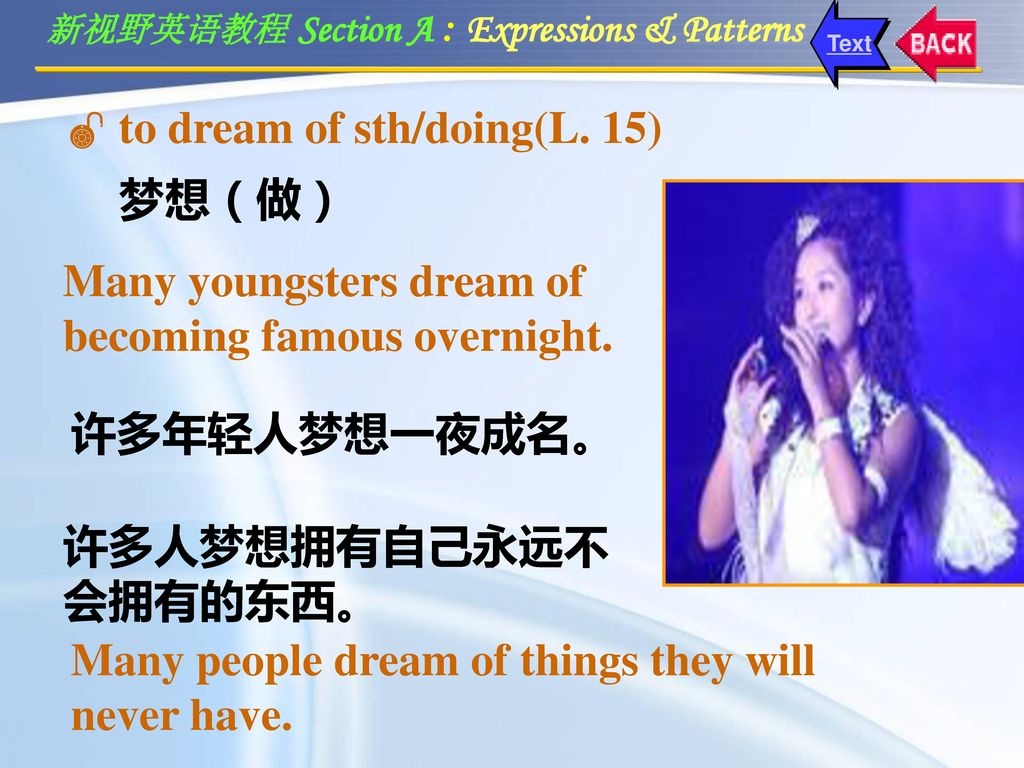 to dream of sth/doing(L. 15)