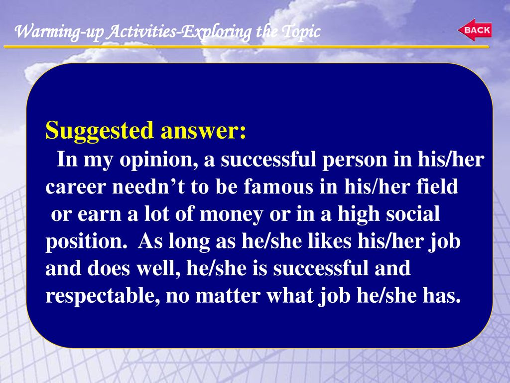 Suggested answer: In my opinion, a successful person in his/her