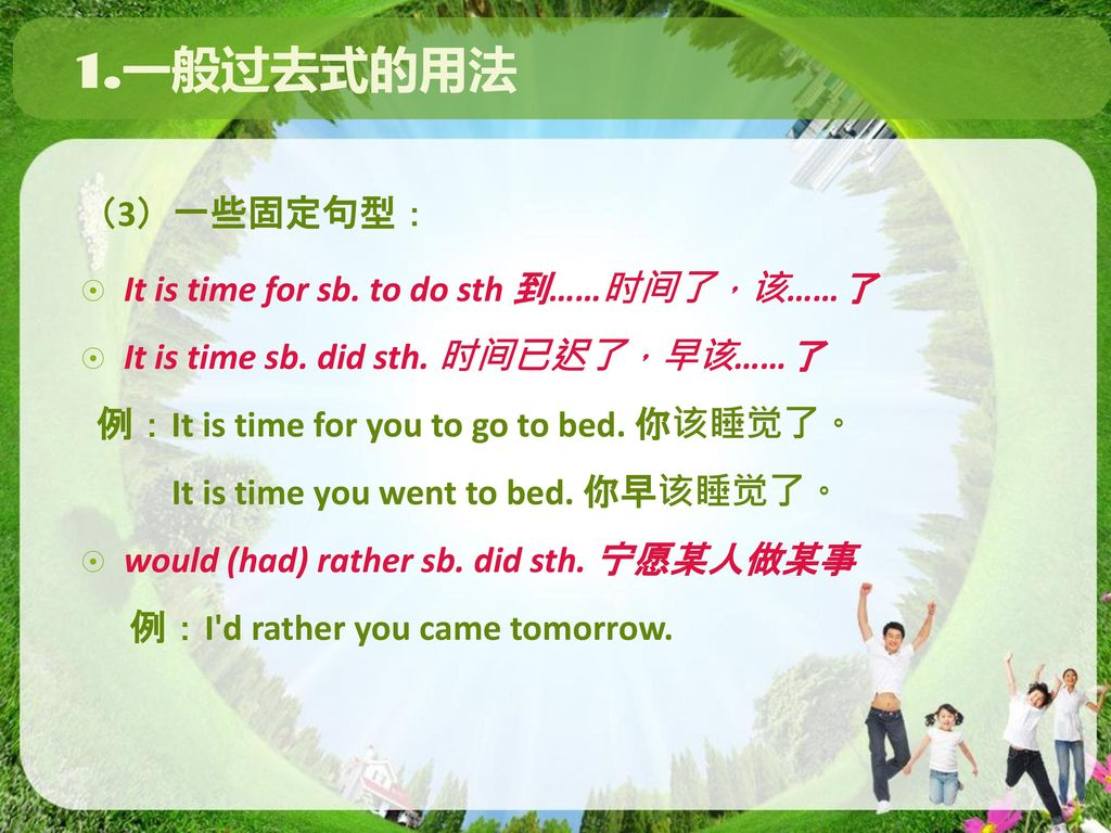 1.一般过去式的用法 (3)一些固定句型: It is time for sb. to do sth 到……时间了,该……了