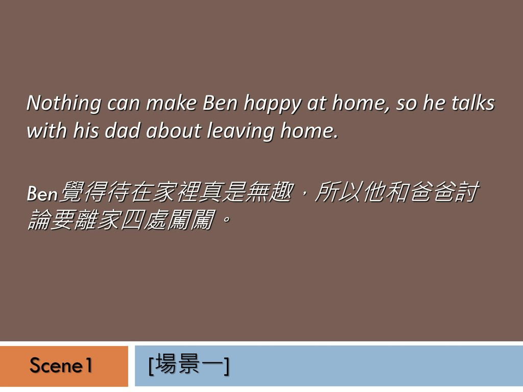 Nothing can make Ben happy at home, so he talks with his dad about leaving home.
